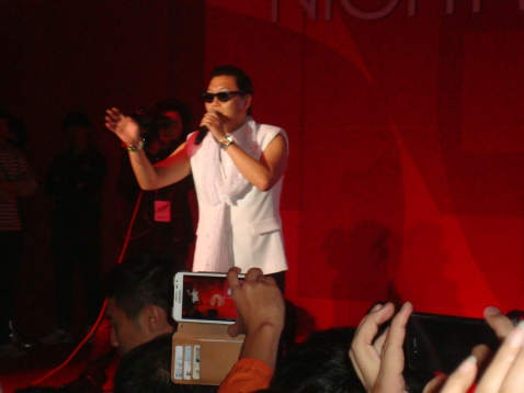 Psy performs for the emphatic crowd