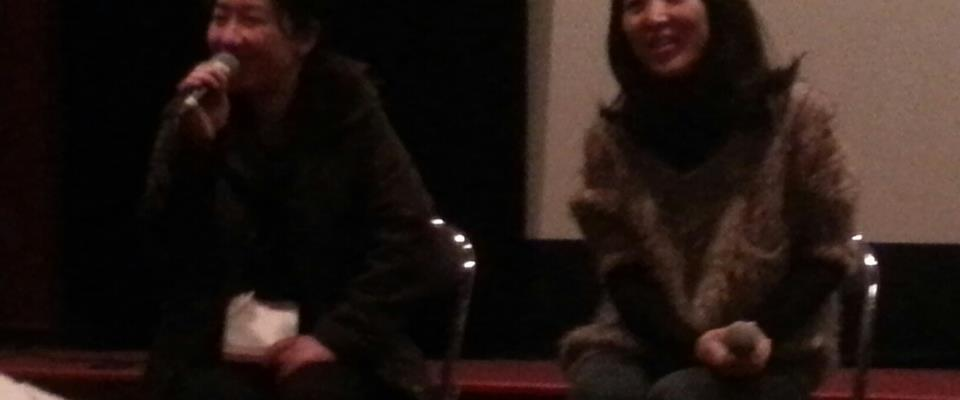 Director Paik Yeon-ah (right) shares her thoughts with the Indieplus translator