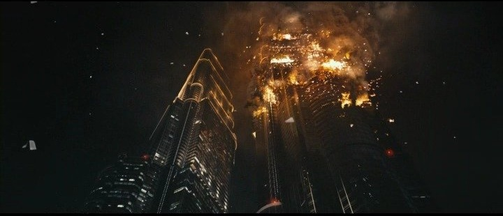 One of the towers is set ablaze from a heicopter crash