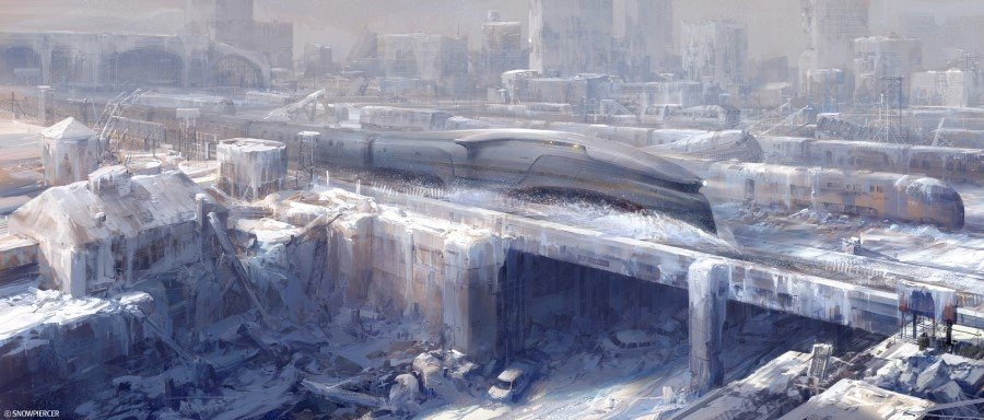 Snowpiercer plows through the snow covered landscapes