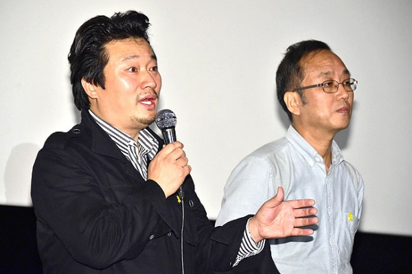 Directors Lee Sang-ho (left) and Ahn Hye-ryong (right) field questions from the audience at the BIFF premiere - picture AFP